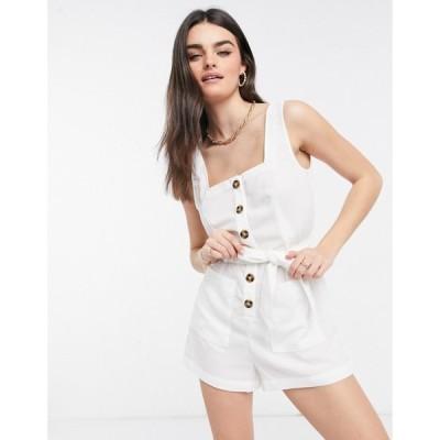 ファッションユニオン Fashion Union レディース ビーチウェア プレイスーツ オールインワン Exclusive Button Down Beach Playsuit In White ホワイト