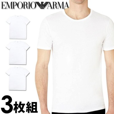 エンポリオアルマーニ メンズ クルーネック 半袖 Tシャツ 3枚セット ホワイト 白 EMPORIO ARMANI 110821cc72216510