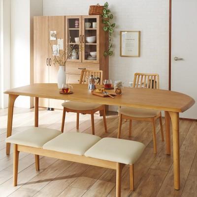 【イージーオーダー】天然木の変形ダイニングテーブル<4人用/6人用>