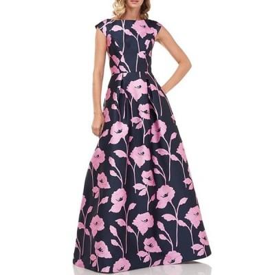ケイ アンジャー レディース ワンピース トップス Addison Boat Neck Textured Floral Jacquard Cap Sleeve Ball Gown