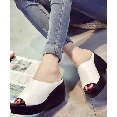 (miniministore/ミニミニストア)厚底サンダル レディース ウェッジソール ミュールサンダル オープントゥ 歩きやすい 靴/レディース ホワイト