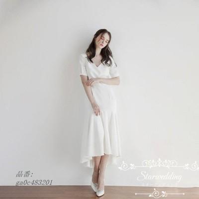 白 ウェディグドレス 結婚式 半袖 ワンピース 花嫁 挙式 パーティードレス マーメイドライン ミモレ丈 前撮り 二次会 ロングドレス