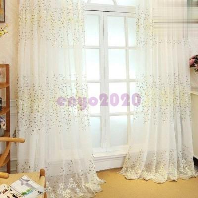 レースカーテン おしゃれ 植物 花柄 刺繍 姫 カーテン レース 柄 おしゃれ かわいい uvカット 北欧 幅60〜100cm丈60〜100cm