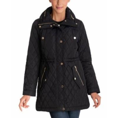 マイケルコース レディース コート アウター Petite Hooded Quilted Anorak Coat Black