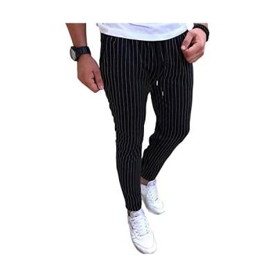 [ピュ フェリーチェ]メンズ ジョガーパンツ スウェット 春 夏 スキニー トレーニング ゆったり ロング パンツ (ブラック 5XL)
