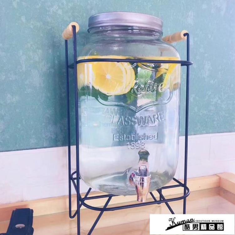【樂天好物】冷水壺帶龍頭 冷水壺家用超大容量玻璃罐自助飲料桶商用果汁罐帶龍頭可樂桶容器