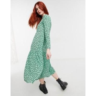 エイソス レディース ワンピース トップス ASOS DESIGN long sleeve tiered smock midi dress in green based spot Green spot