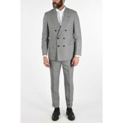 BRUNELLO CUCINELLI/ブルネロ クチネリ Black & White メンズ Houndstooth Peak Lapel Double Breasted Suit dk