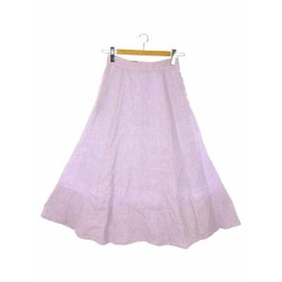 【中古】ジャスグリッティー JUSGLITTY リネン マキシ フレア スカート ロング 1 パープル 紫 レディース