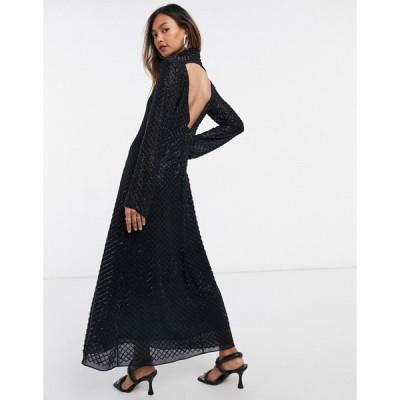 アンドアザーストーリーズ & Other Stories レディース ワンピース マキシ丈 ワンピース・ドレス Recycled Beaded Maxi Dress ブラック