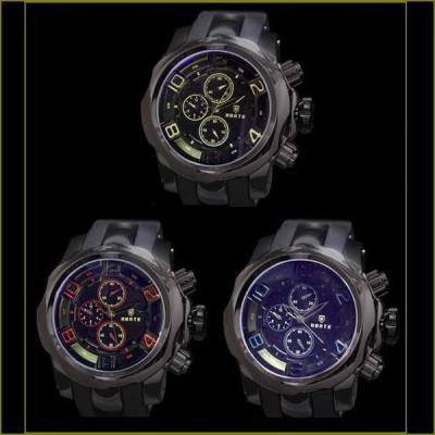 腕時計 メンズ ブラックメタル ラバーベルト 3Dフェイス ウォッチ