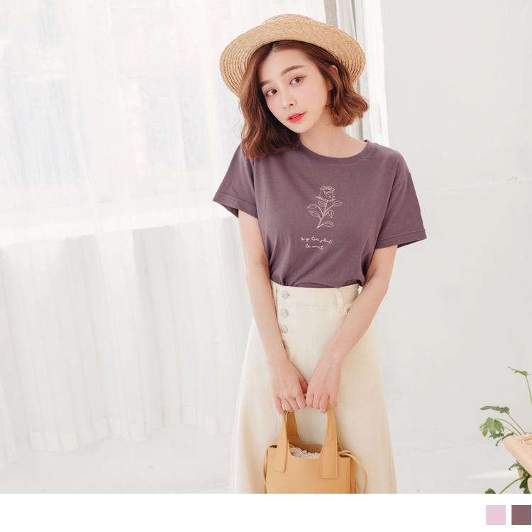 台灣製造高含棉玫瑰圖T恤/上衣