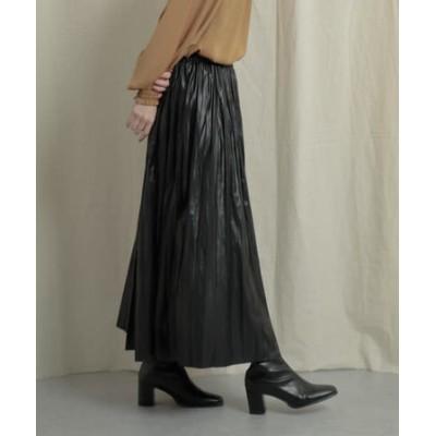 【WEB/一部店舗限定】レザーライクプリーツスカート