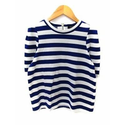 【中古】ディスコート Tシャツ カットソー ラウンドネック 半袖 ボーダー柄 F 青 ブルー 白 ホワイト レディース