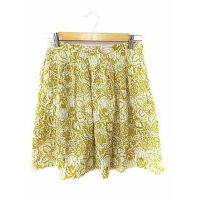 【中古】マカフィー MACPHEE トゥモローランド スカート ミニ フレア タック 総柄 36 黄色 イエロー /AAO39