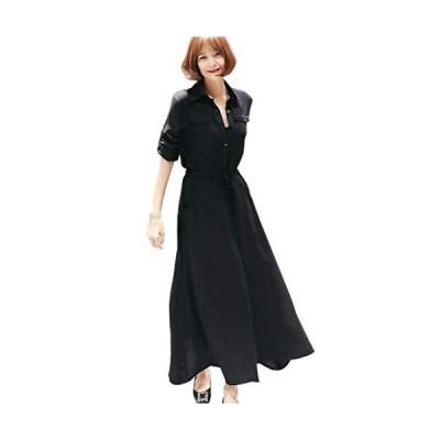 [ケイグラッソ] 女性 おしゃれ リゾート シフォン きれいめ 20代 30代 40代 秋 冬 春 フレア ファッション (XL)