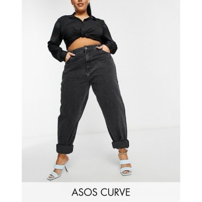 エイソス ASOS Curve レディース ジーンズ・デニム ボトムス・パンツ Asos Design Curve High Rise 'Slouchy' Mom Jeans In Washed Black ウォッシュブラック