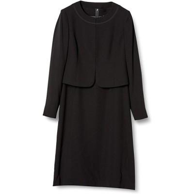 ブラックフォーマル B-GALLERY アンサンブル ジャケット ワンピース 喪服 礼服 葬儀 黒 レディース ブラック 13号