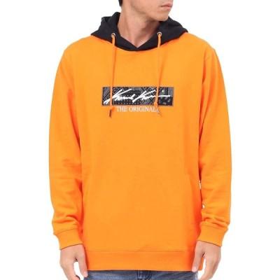 カールカナイ Karl Kani パーカー プルオーバー BOXロゴ フード バイカラー プルパーカー 193K1300 オレンジ L
