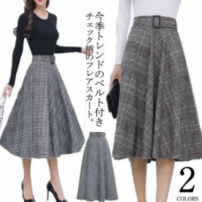 S-3Lサイズ!グレンチェックミディアムスカート ベルト付きスカート ミディアム丈 グレンチェックスカート ミモレスカート チェ