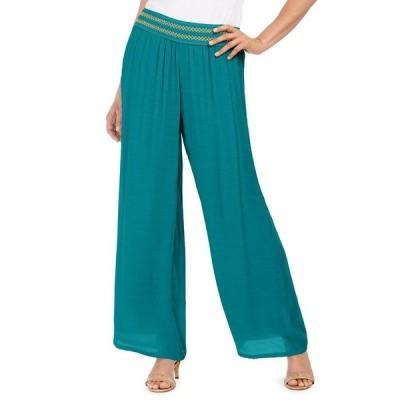 ジェイエムコレクション カジュアルパンツ ボトムス レディース Metallic-Detail Wide-Leg Gauze Pants, Created for Macy's Blooming Cactus