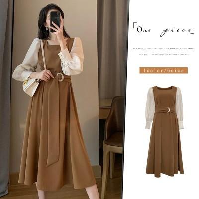 春の新作/韓国のファッションロング切り替えの春秋のワンピースの大サイズZY1351