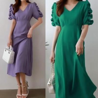 ロングワンピース 無地ワンピ 袖コン 大人女子 韓国ファッション