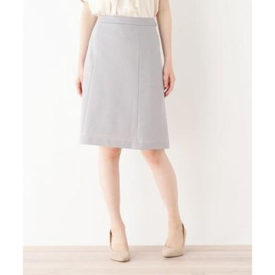 スカート 台形リネン混スカート