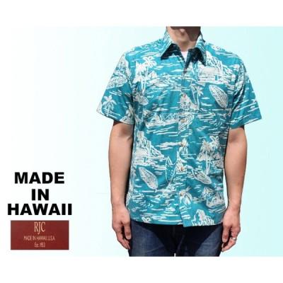 RJC/ロバート・J・クランシー アロハシャツ ハワイ製  リバースプリント ブルーグリーン