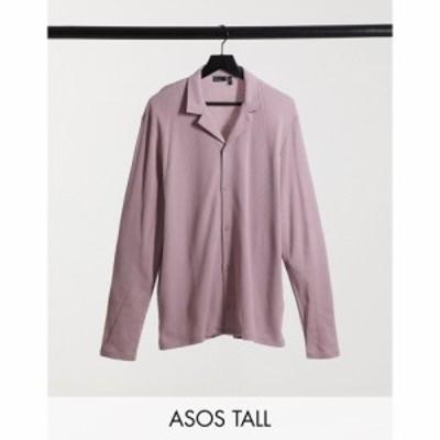 エイソス ASOS DESIGN メンズ シャツ トップス Tall long sleeve waffle jersey shirt in light washed purple
