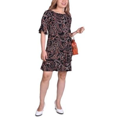 ニューヨークコレクション ワンピース トップス レディース Petite Belted Bell-Sleeve Dress Black/Red