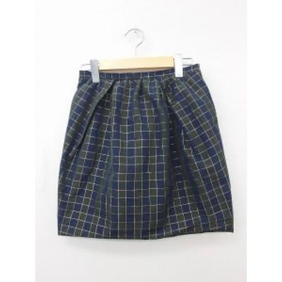 【中古】マカフィー MACPHEE トゥモローランド スカート 台形スカート ギャザー ミニ 綿 コットン チェック ラメ 36 ネイビー