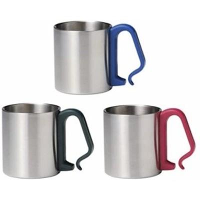 ステンレスマグカップ 3個セット(ブルー レッド グリーン)持ち手がカラビナ形状 リュックやロープに付けられます ステンマグ アウトド