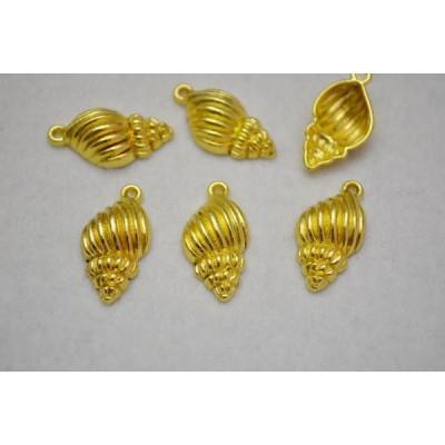 チャーム ハワイアン 巻貝 ゴールド 25mm 10個セット ビーズクラブ