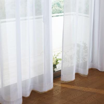 防炎付き透け感のある無地ボイルカーテン/ホワイト/幅100×丈68(2枚組)