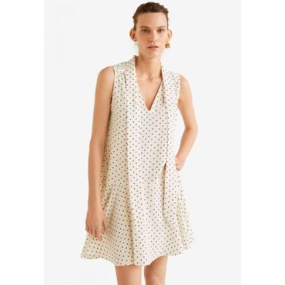 マンゴ Mango レディース パーティードレス ワンピース・ドレス Printed Bow Dress Natural White