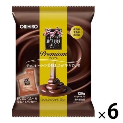 ぷるんと蒟蒻ゼリーパウチ プレミアムチョコレート 6個 オリヒロ 栄養補助ゼリー