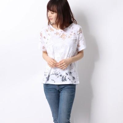 デシグアル Desigual Tシャツ半袖 T-SHIRT DEVORE GARDENS (ホワイト)
