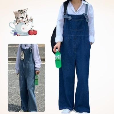 パンツ デニムサロペット レディース ワイドパンツ オーバーサイズ 韓国風 デニム オーバーオール ワイドジーンズ パンツ 着痩せ ゆったり ずぼん