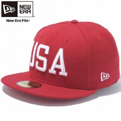 ニューエラ 5950キャップ ユーエスエーロゴ スカーレット スノーホワイト New Era 59Fifty Cap USA Logo Scarlet Snow White
