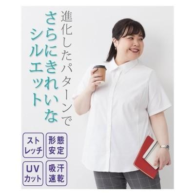 シャツ 大きいサイズ レディース 形態安定 ストレッチ 半袖 吸汗速乾 UVカット 夏 15〜38号 ニッセン nissen