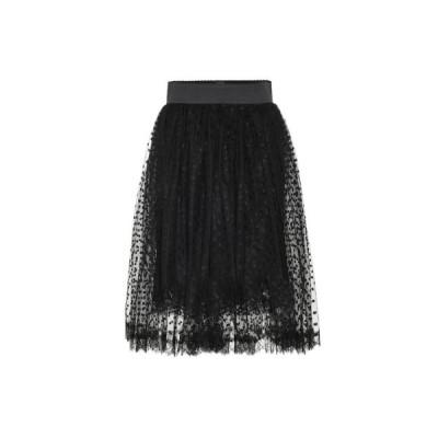 ドルチェ&ガッバーナ Dolce & Gabbana レディース ひざ丈スカート スカート dotted lace-trimmed tulle skirt Black