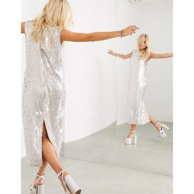 エイソス レディース ワンピース トップス ASOS EDITION sleeveless midi shift dress in linear sequin Silver