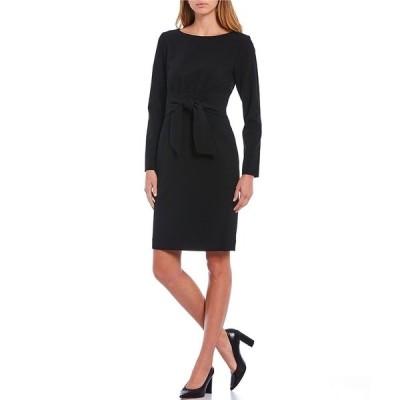 アントニオメラニー レディース ワンピース トップス Pammy Long Sleeve Pleat Back Tie Waist Sheath Dress Black