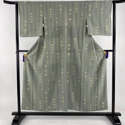 小紋 美品 秀品 縦縞 丸 薄緑 袷 身丈153cm 裄丈62cm S 正絹 【中古】 PK60
