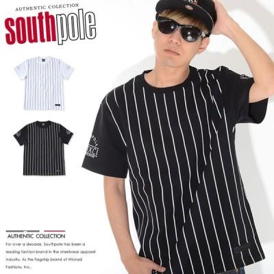 SOUTHPOLE サウスポール Tシャツ 半袖 ストライプ アーム切替 (11922052) セール