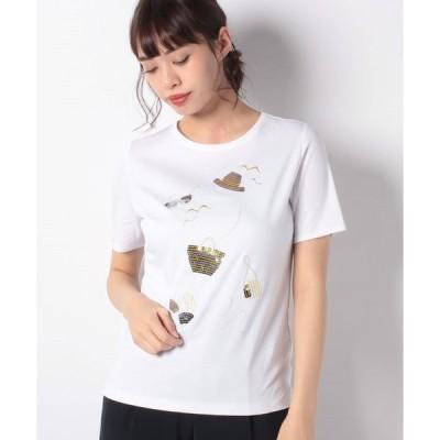 【ラ ジョコンダ】【接触冷感】スーピマスムース エンブロイダリーTシャツ