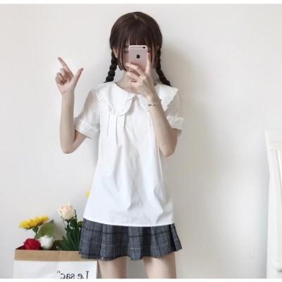 ブラウス レディース ロリータシャツ 可愛いシャツ 半袖 ロリータファッション ロリータコーディネーション 夏 4色 全店2点送料無料