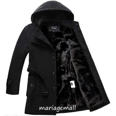 メンズトレンチコートコットン厚手裏起毛ツイード素材韓国ファッション通勤大きいサイズコートオフィスフォーマル2色ジャケット