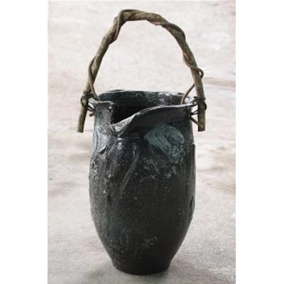傘立て 信楽焼 刷毛目壺型つる付傘立   傘立 陶器    彩り屋_